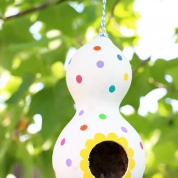 DIY Polka Dot Gourd Birdhouse