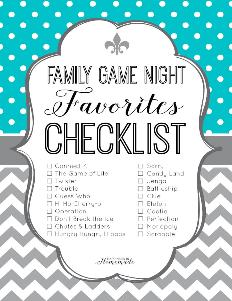 Family Game Night Favorites Checklist Happiness Is Homemade