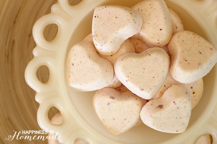 Grapefruit Citrus Fizzy Bath Bomb Hearts