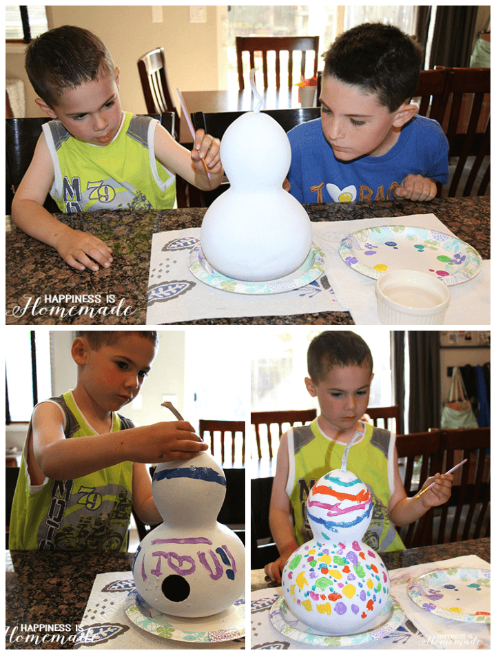Kids Painting Gourd Birdhouses