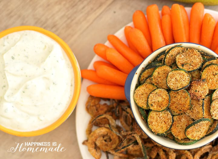 Hidden Valley Greek Yogurt Ranch Dip with Zucchini Chips and Curly Fries