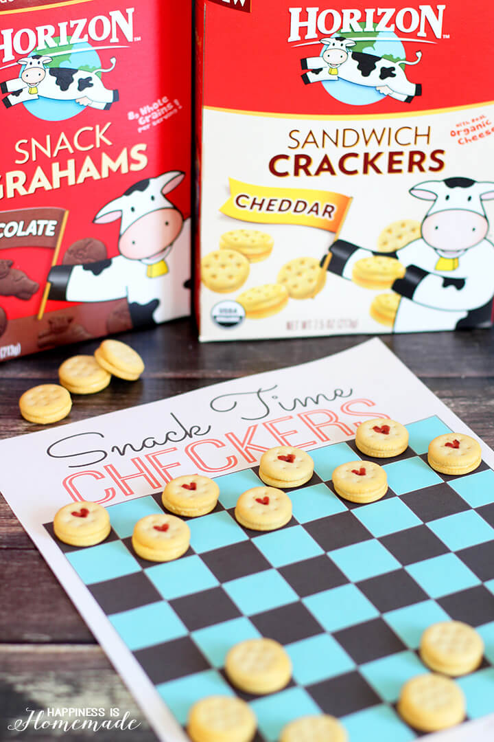 Snack Time Checkers Printable Game Board
