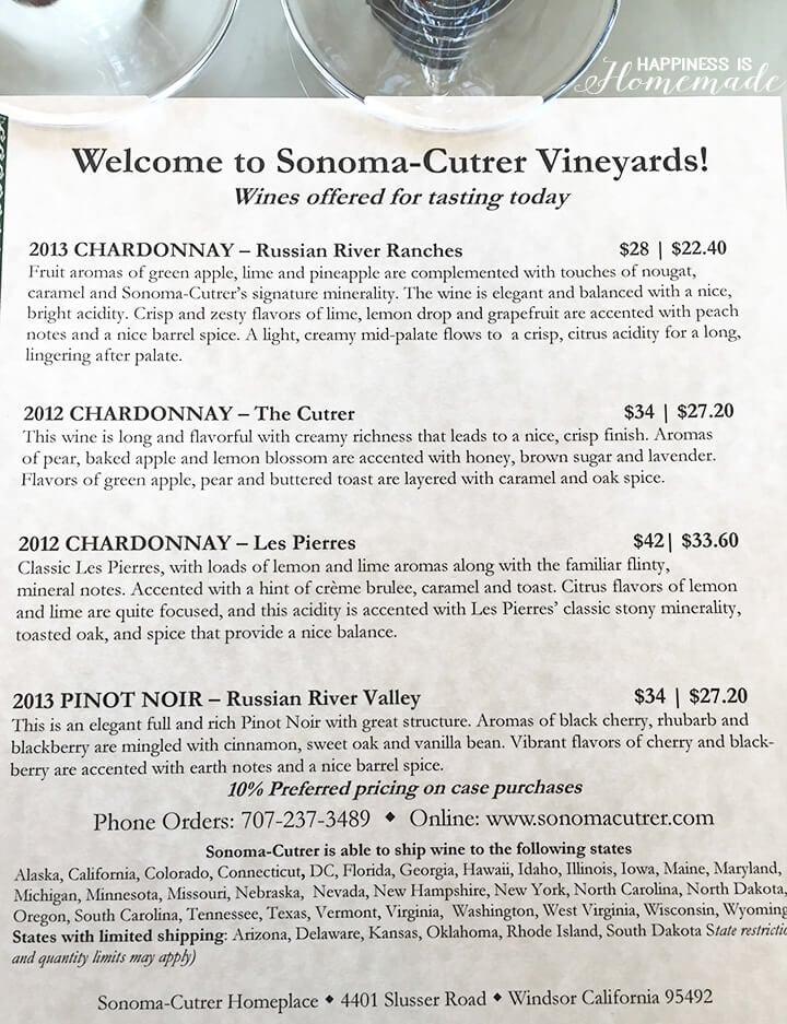 Sonoma-Cutrer Tasting List