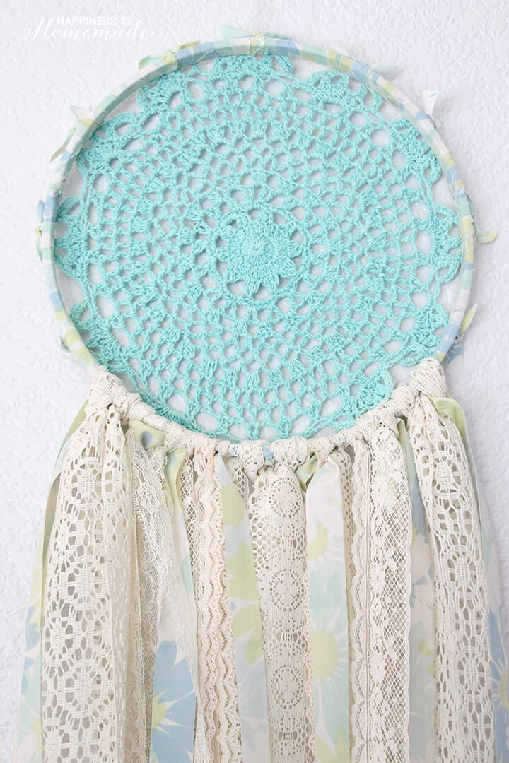 Vintage sheet lace doily dream catcher happiness is for What do dreamcatchers do