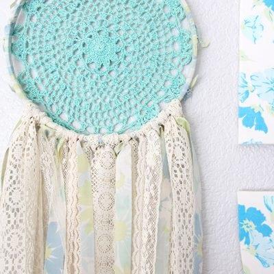 Vintage Sheet & Lace Doily Dream Catcher