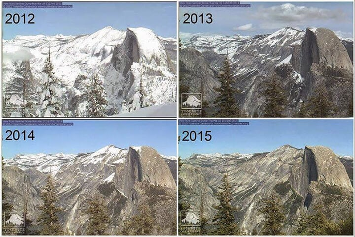 the drought in 2015 through Yosemite snowpack for 4 years