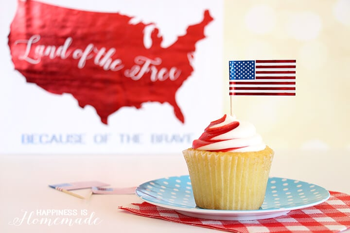4th of July Metallic Flag Cupcake Toppers and Printable