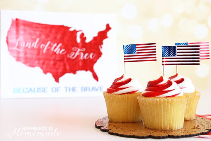 4th of July Metallic Flag Cupckae Pick Printables