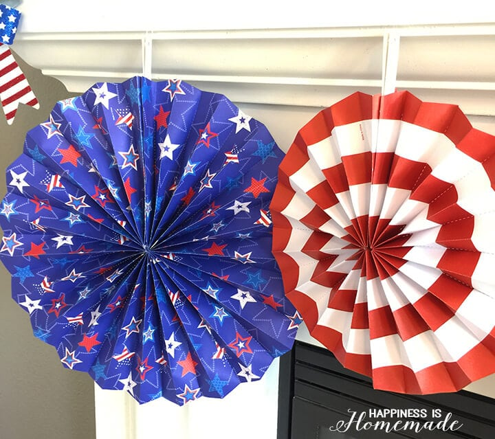4th of July Paper Fans from Dollar Tree