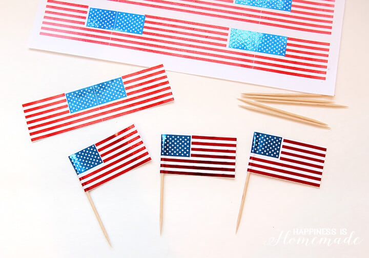 DIY Foil USA Flag Cupcake Picks for 4th of July