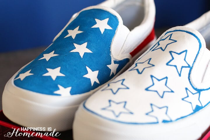 DIY Red White and Blue Sneakers