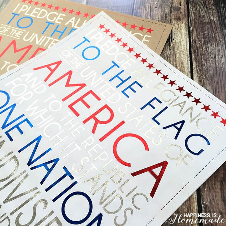 Foil Pledge of Allegiance Printable