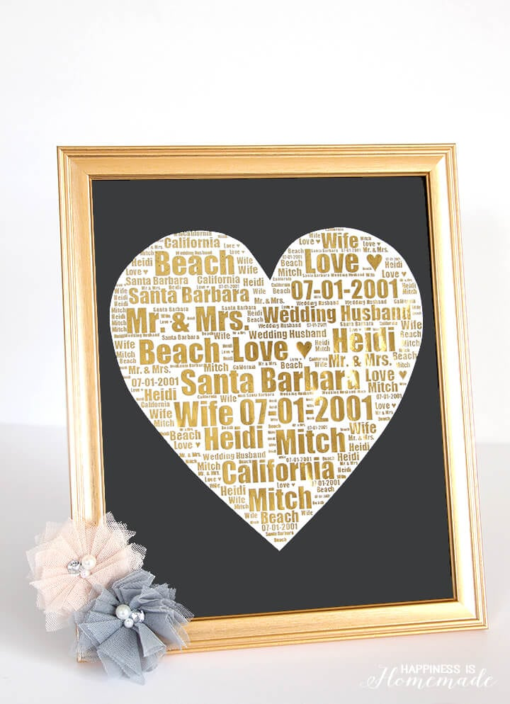Gold Foil Wedding Print Gift Idea