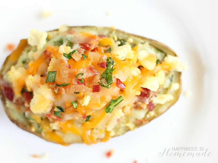 Loaded Twice Baked Potatoes with Bacon Cheddar Cheese and Kale