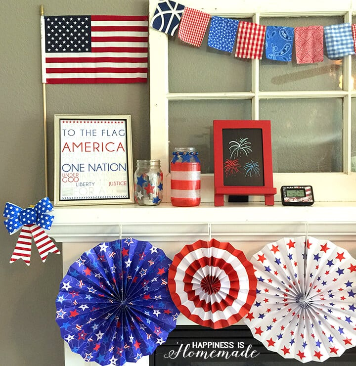 Quick 4th of July Mantel