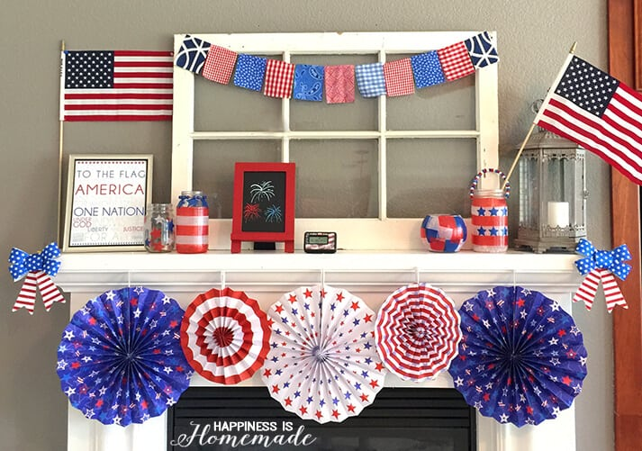 quick easy 4th of july mantel decorations happiness is homemade. Black Bedroom Furniture Sets. Home Design Ideas