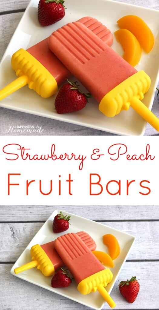 Strawberry & Peach Fruit Bar Pops - Happiness is Homemade