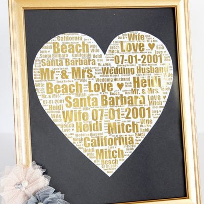 Personalized Gold Foil Wedding Day Print