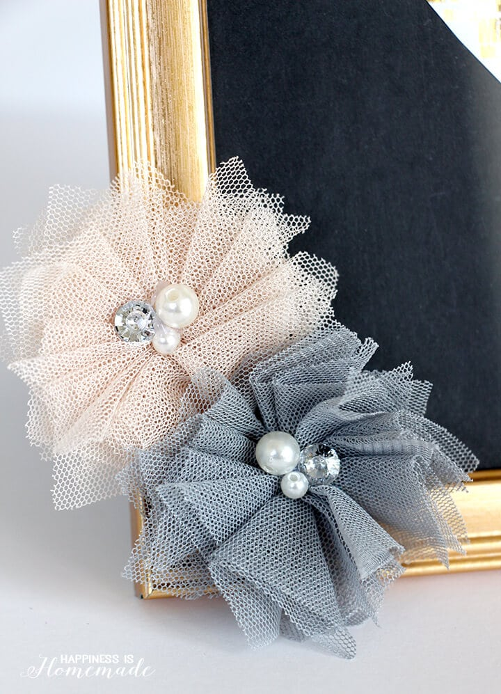 Tulle Flowers with Gems and Pearls
