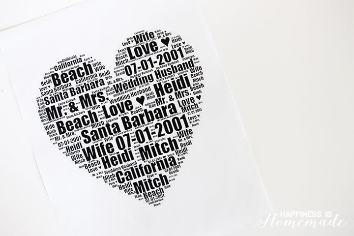 Wedding Date & Info Heart Print