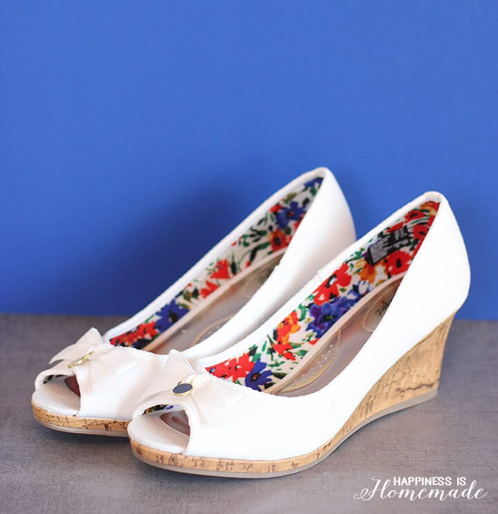 Women's White Canvas Wedges Shoes