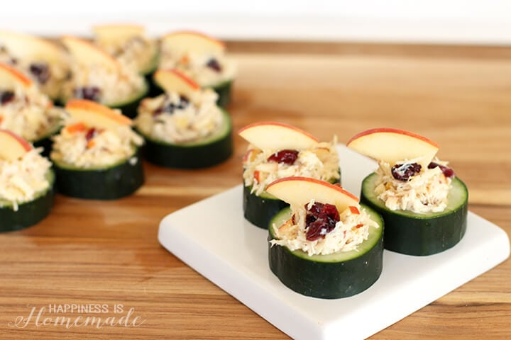 Chicken Salad with Apple in Cucumber Cups