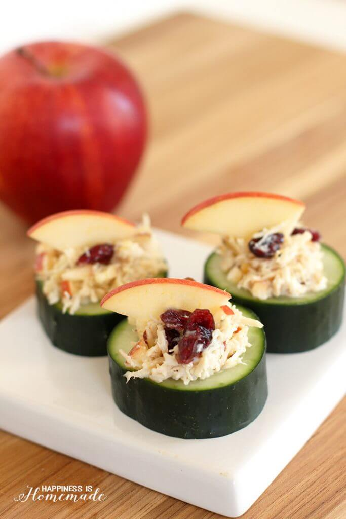 Cranberry Apple Almond Chicken Salad in Cucumber Cups