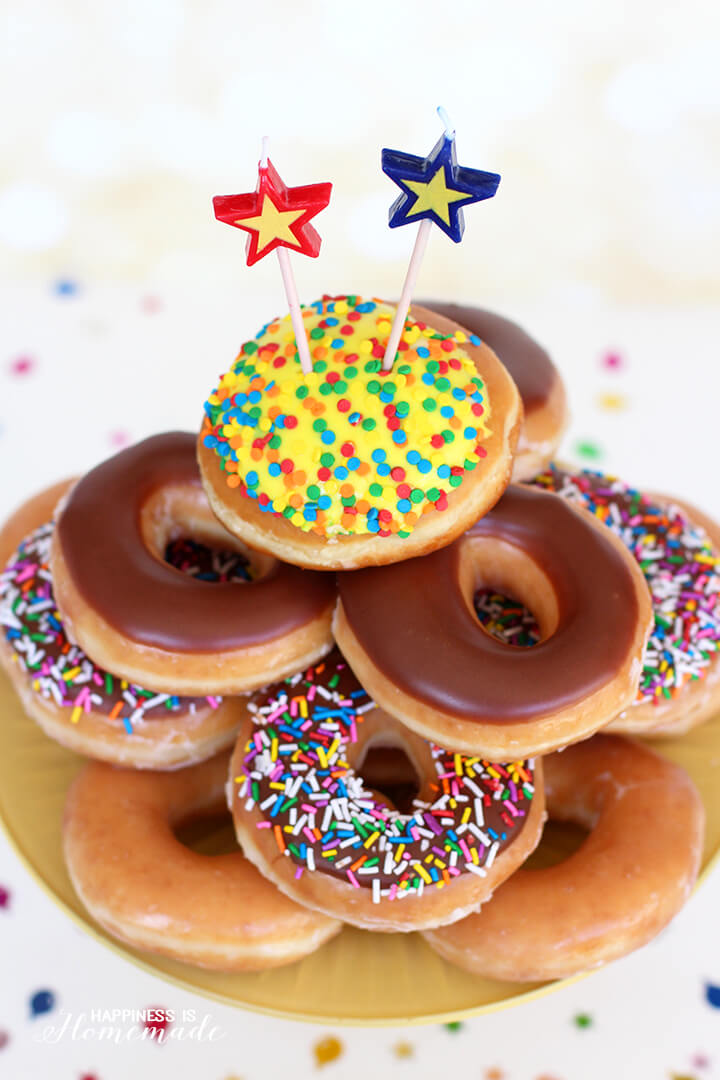 Watch video · Krispy Kreme is also celebrating its birthday with a special new menu item: the glazed confetti doughnut. It's appropriately festive inside and out, with rainbow sprinkles on top and a colorful.