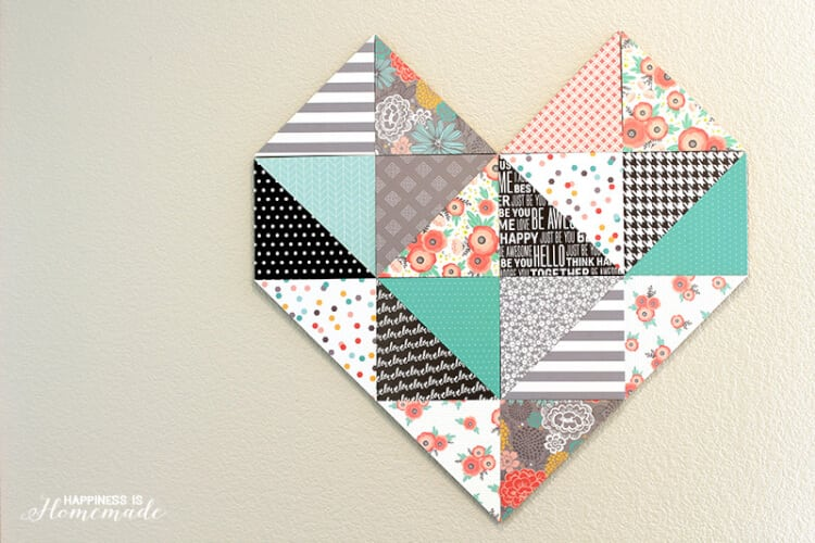 Geometric Heart with Patterned Paper by Jen Hadfield