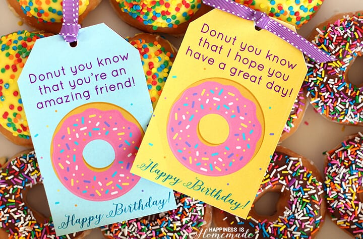 Printable Donut Happy Birthday Tags
