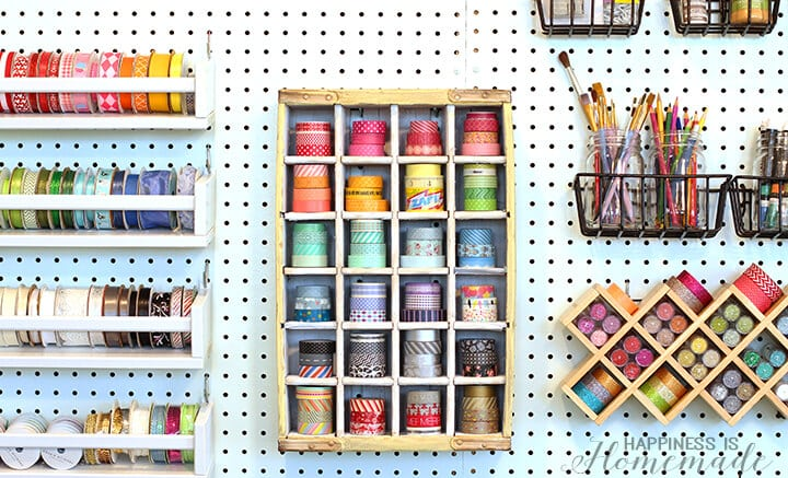 Recycled Vintage Soda Crate to Washi Tape Storage Shelf