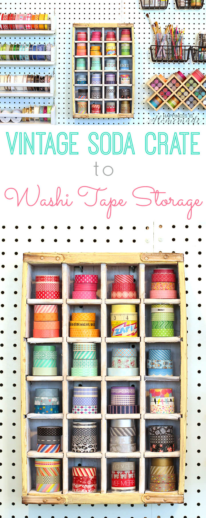 Repurposed Vintage Soda Crate to Washi Tape Storage Shelf