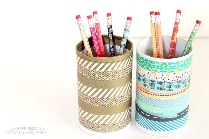 Repurposed Washi Tape Pencil Cup