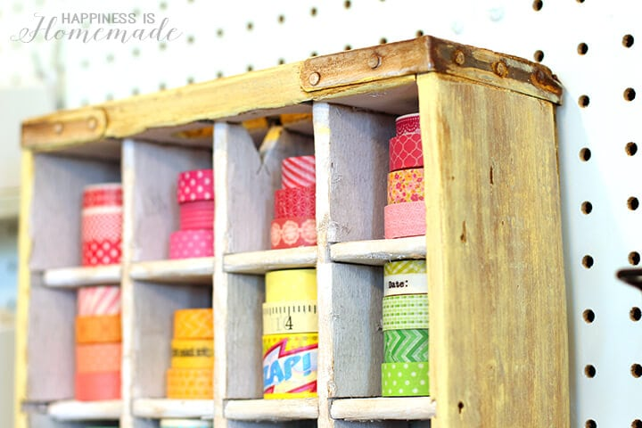 Soda Crate Washi Tape Storage Shelf