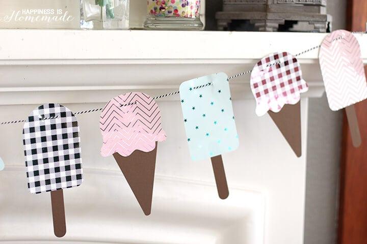 Summer Ice Cream Cone Banner with Metallic Foil