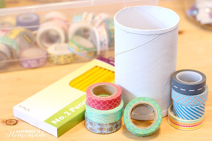 Supplies to Make Washi Tape Pencils and Pencil Cup