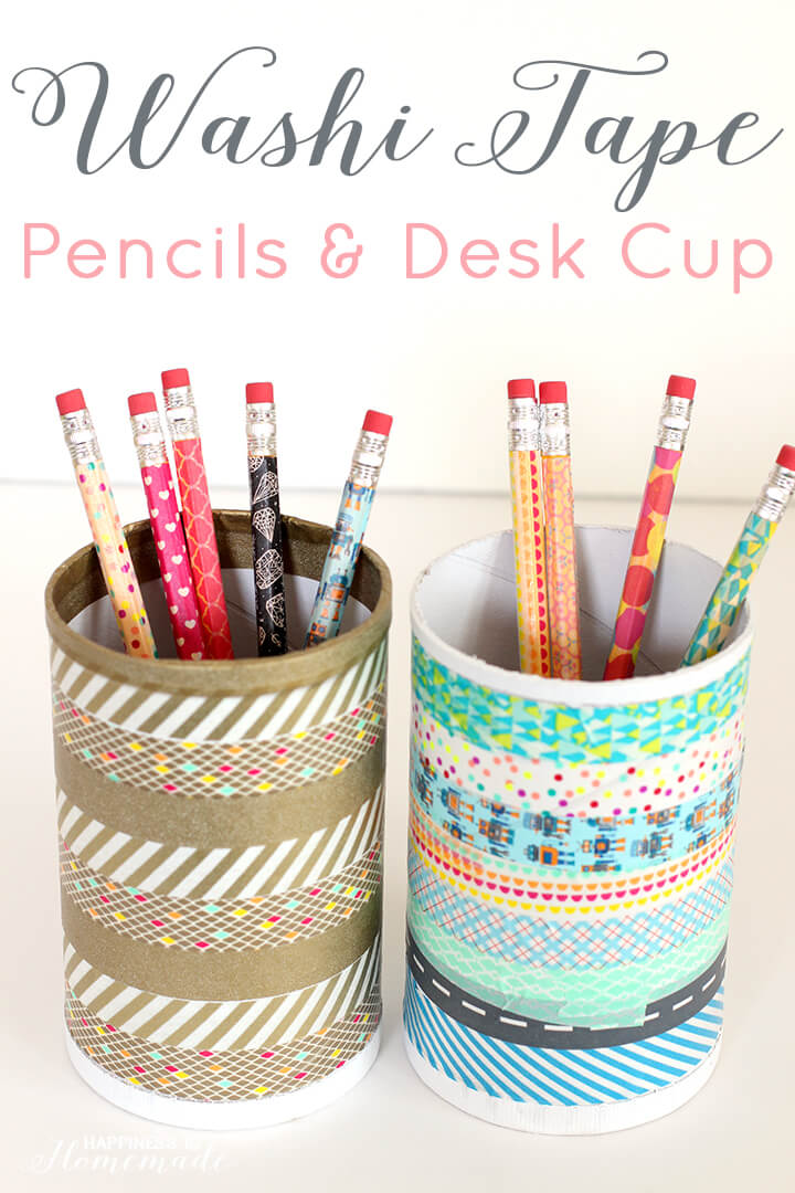 Washi Tape Pencils and Desk Cup Organizer