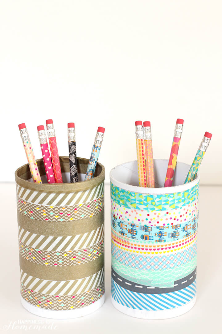 Washi Tape Pencils and Desk Pencil Cup