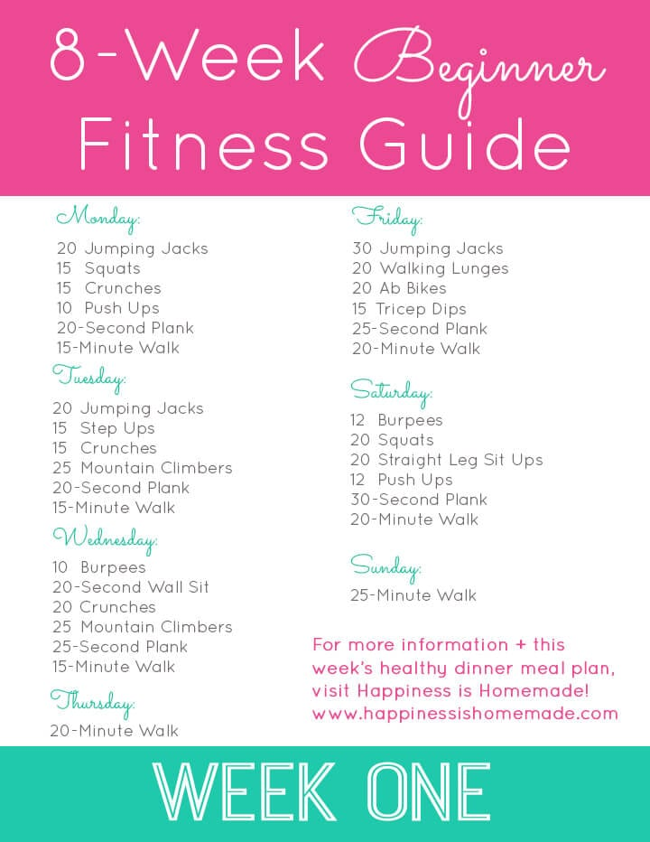 8 Week Beginner Fitness Jumpstart   Week One Workout Plan Web