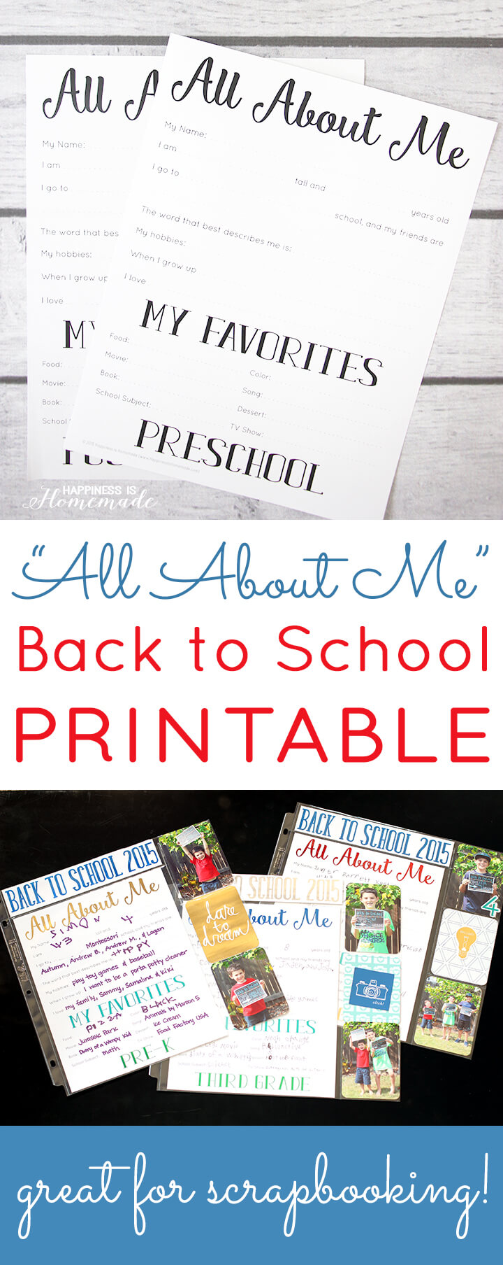 All About Me Back to School Printables - Great for Scrapbooks and Memory Keeping