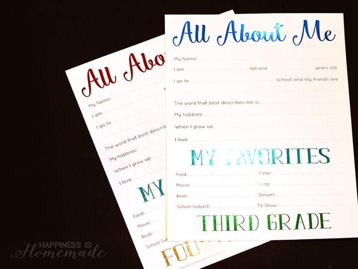 All About Me Foil Printables