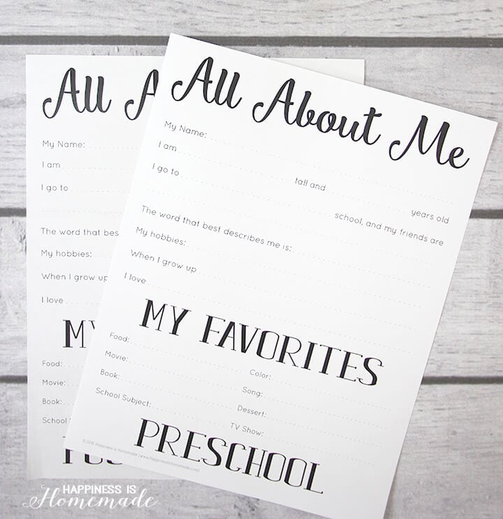 math worksheet : all about me quot; back to school printables  happiness is homemade : All About Me Worksheet For Kindergarten