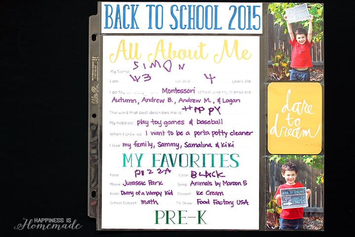 Back to School Printables All About Me