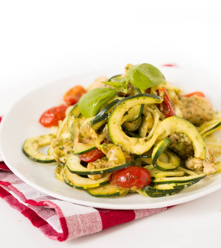 Chicken and Pesto Zucchini Fettucini with Tomatoes