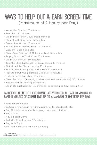 Chores and Ways to Help Out and Earn Screen Time Printable