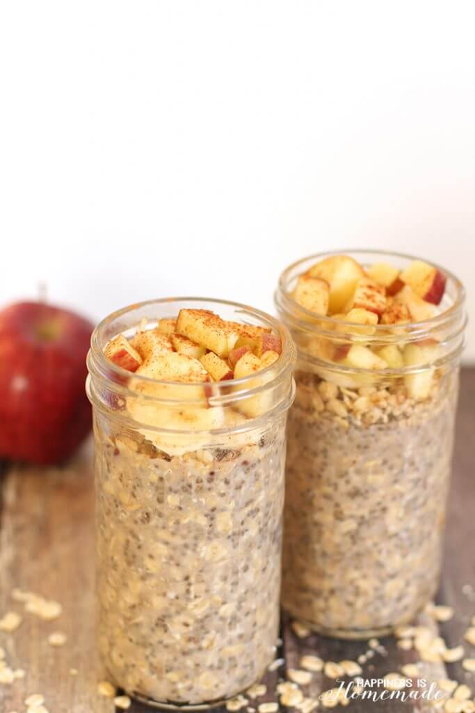 OVernight Chia Oats with Apples and Cinnamon
