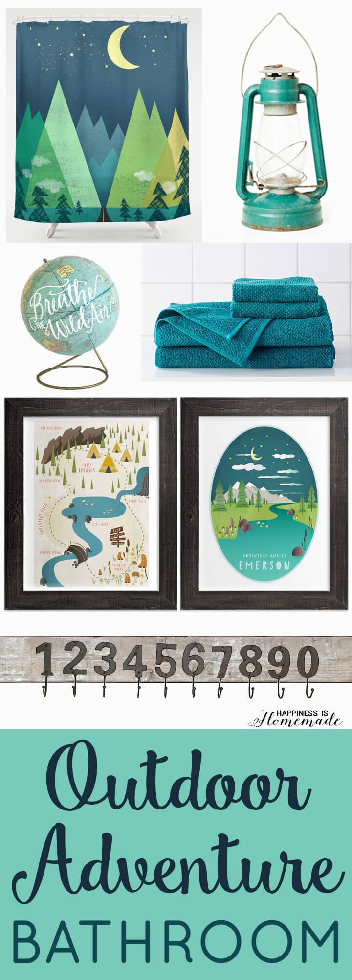 Outdoor Adventure Themed Boys Bathroom Design Idea and Vision Board