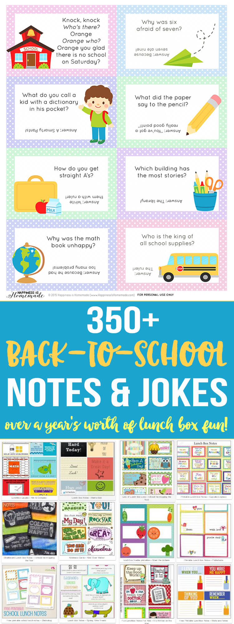 Over 350 Printable Back to School Lunch Box Notes and Jokes