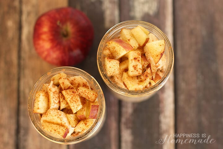 Overnight Apple CInnamon Chia Oats for Breakfast on the Go