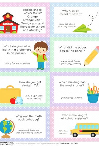 Back-to-School Lunch Box Jokes & Notes